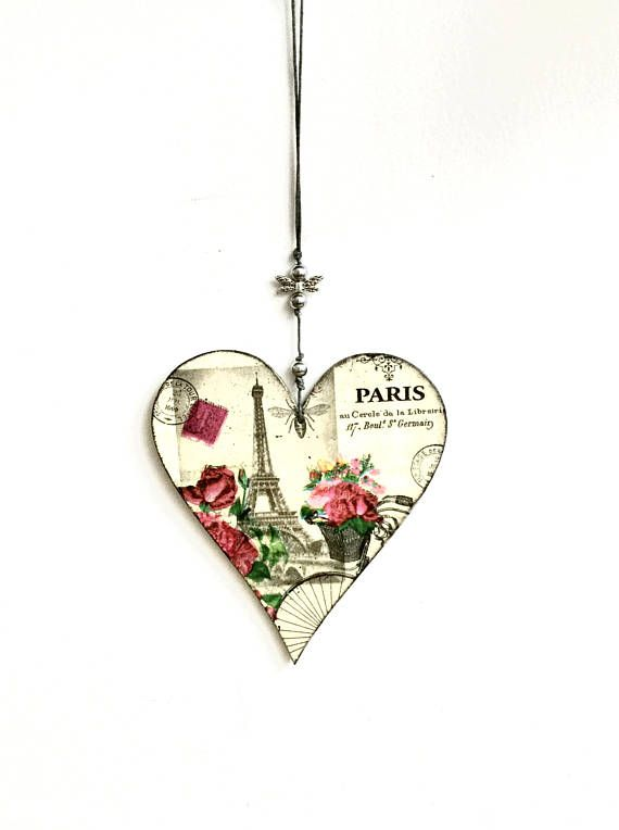 wooden hanging heart Paris heart hanging heart