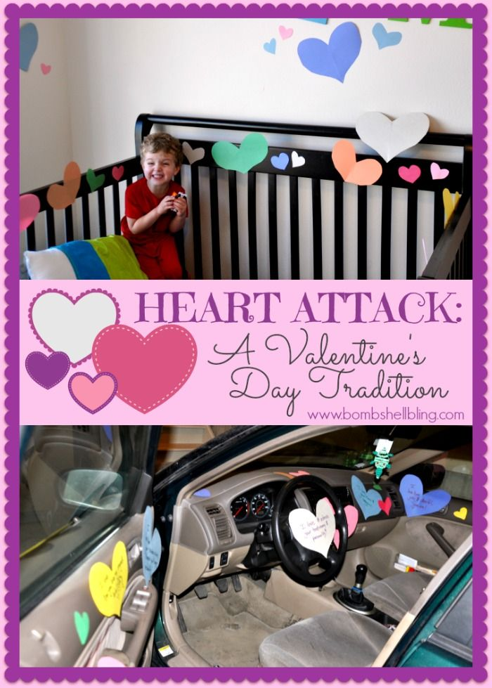 I love this idea for a sweet and VERY simple Valentine's Day tradition: A HEART ATTACK!  :)