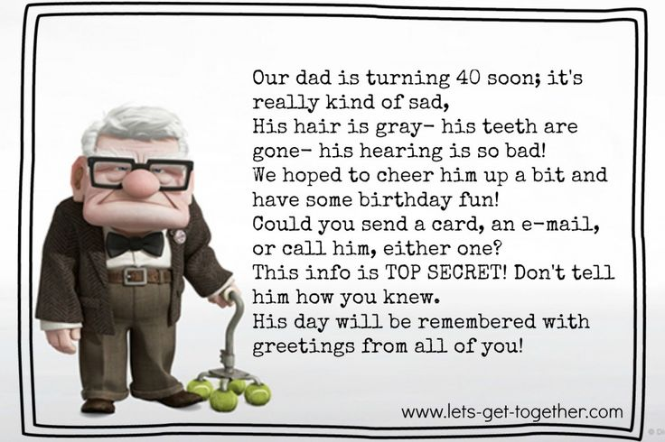40th Birthday Surprise-a really fun way to surprise the birthday person in your life-no party required! www.lets-get-together.com #birthday #overthehill
