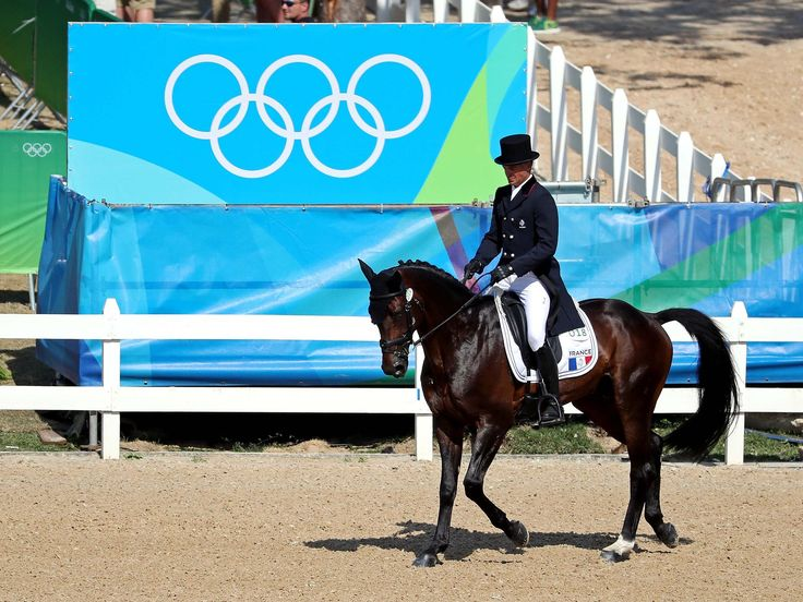 Karim Laghouag of France rides during equestrian eventing dressage in Rio 2016 Summer Olympic Games at Olympic Equestrian Centre.  Jason Getz, USA TODAY Sports