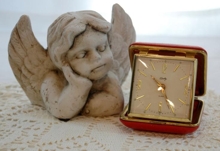 Vintage Bradley Travel Alarm Clock, Vintage Red Clock, Vintage Clock Made in Japan from The Eclectic Interior. $20.00, via Etsy.