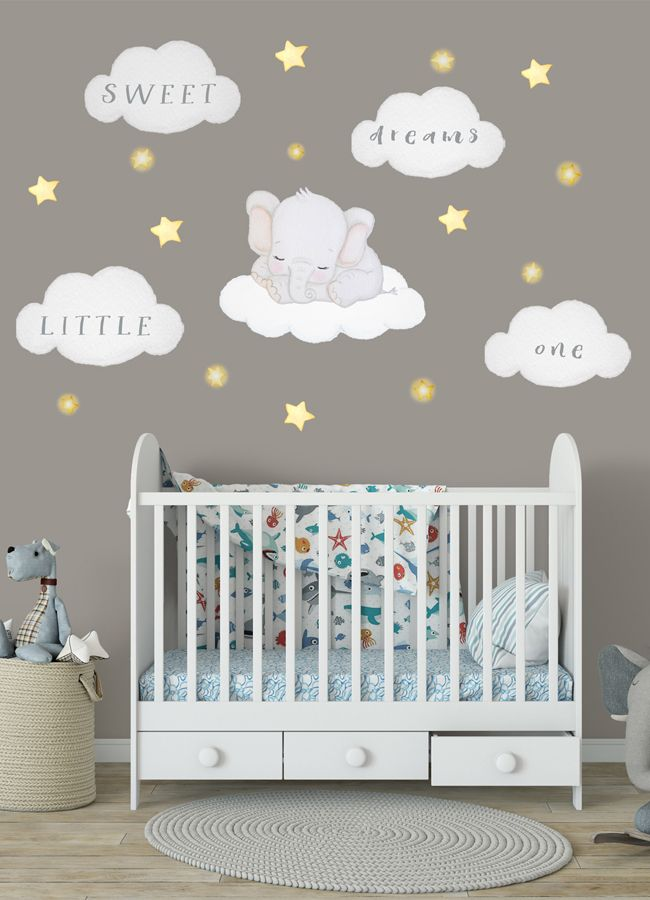 Elephant Nursery Wall Decal Sweet Dreams Little