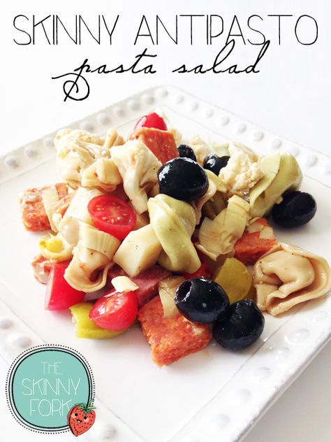 Skinny Antipasto Pasta Salad — This is one of my all time favorite recipes in the world! Perfect for lunch or even a picnic! Well under 300 calories in a full serving!