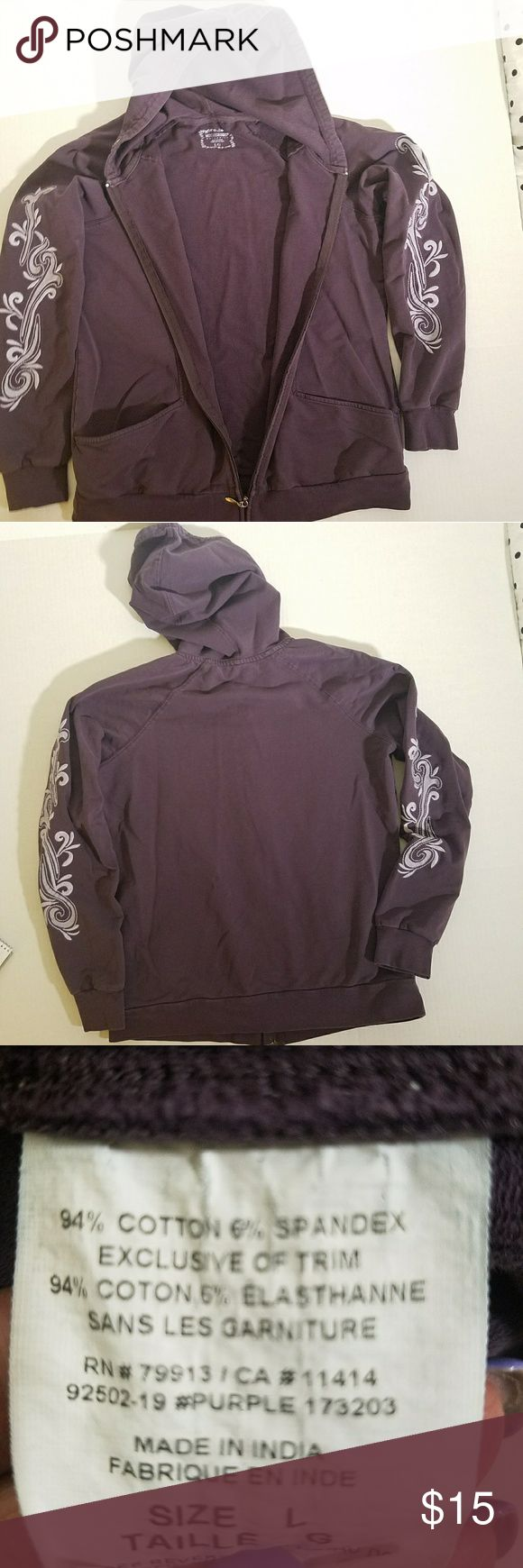 Purple Maternity Hoodie Purple Maternity Hoodie w/ no drawstring. Graphic printed sleeves. Motherhood Maternity Tops Sweatshirts & Hoodies