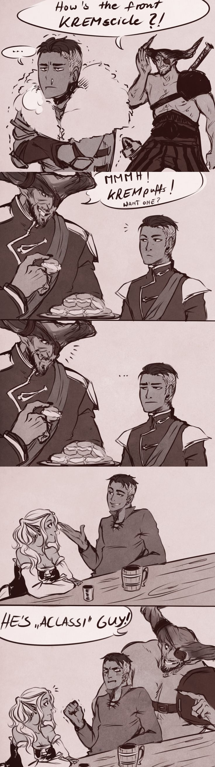 Iron Bull would have some pretty terrible name puns for Krem.