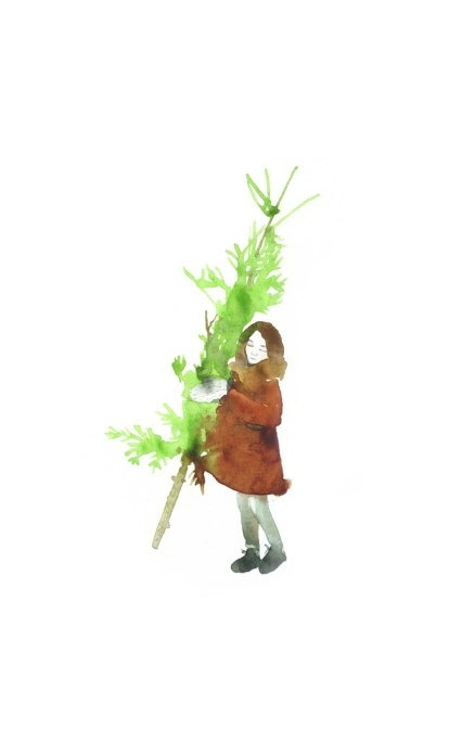 girl carrying the christmas tree, going home, large postcard or poster, watercolor. $3.00, via Etsy.