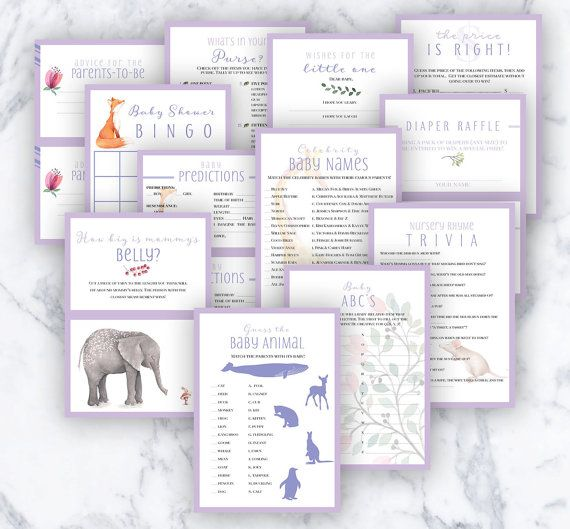 Baby Shower Games - Watercolor Animal Theme by MadeofSimple