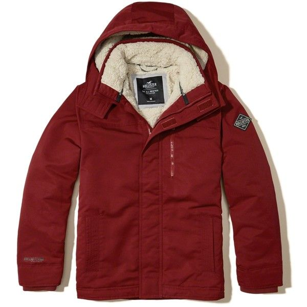 Hollister All-Weather Sherpa-Lined Jacket (155 CAD) ❤ liked on Polyvore featuring men's fashion, men's clothing, men's outerwear, men's jackets, red, mens red jacket, mens red faux leather jacket, mens hooded jackets, mens faux fur hooded jacket and mens faux leather jacket