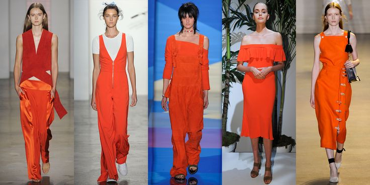 Yes, it's a pretty in-your face color, but that didn't stop Dion Lee, Adam Selman, Baja East, Veronica Beard, or Altuzarra from highlighting it in their collections. Orange, in a variety of shades, will be your go-to hue next season.    - ELLE.com
