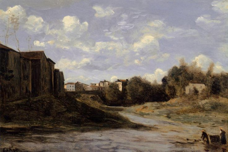 The Banks of the Midouze, Mont de Marsan, as Seen from the Pont du Commerce, 1872 by Camille Corot. Realism. landscape. Private Collection