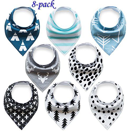 Baby Bandana Drool Bibs Organic 8 Pack for Boys and Girls...