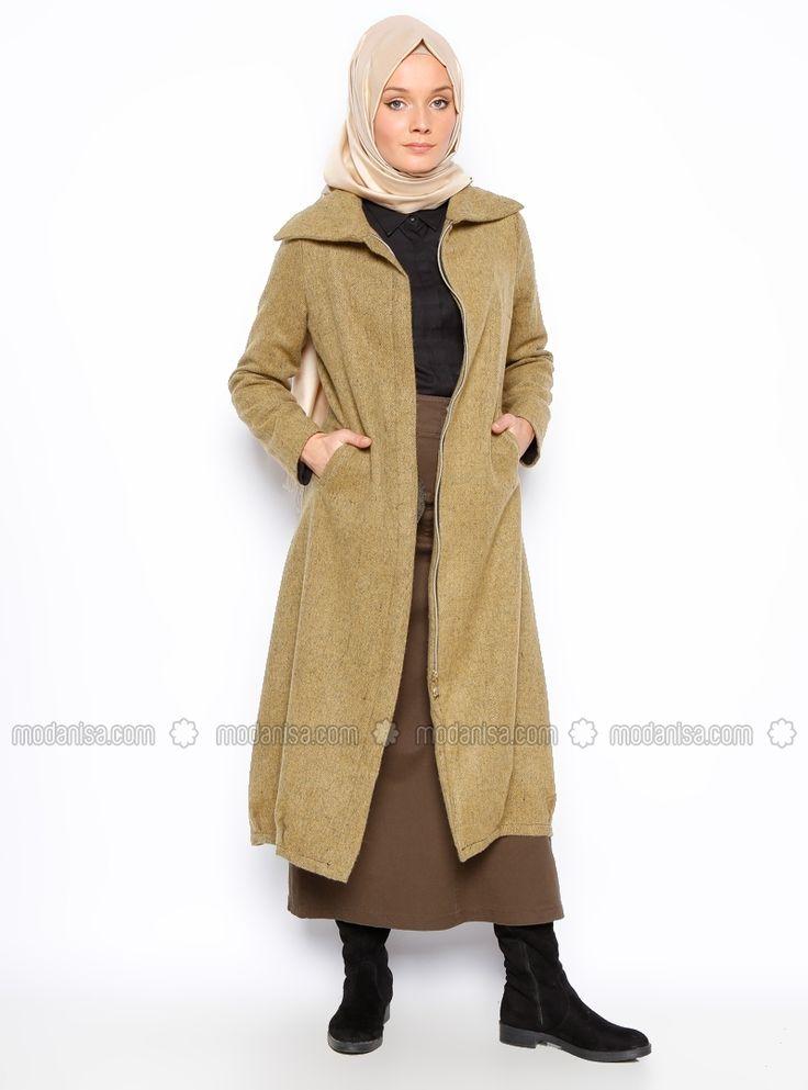 Hidden zippered Topcoat - Green - Beha Tesettur