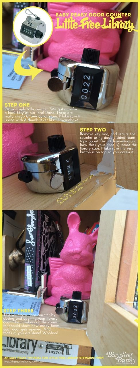An easy DIY door counter for your Little Free Library (courtesy of The Bicycling Bunny)? Yes please! Check it out here: http://littlefreelibrary.org/create-door-counter-let-fun-begin/
