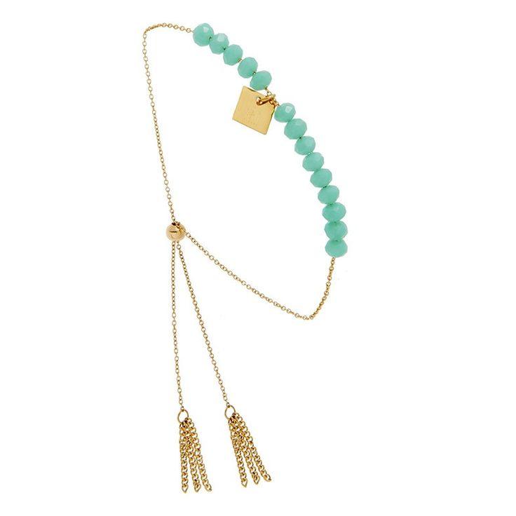 Bracelet Perles bleues & Pompon Chaînes (doré), Zag Bijoux - Bijoux Fantaisie Créateurs