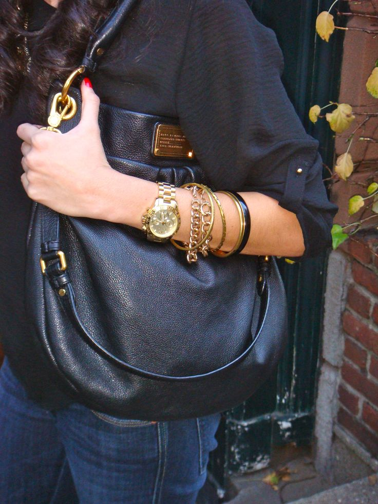 Marc by Marc Jacobs hobo bag, Michael Kors watch, Forever 21 bangles