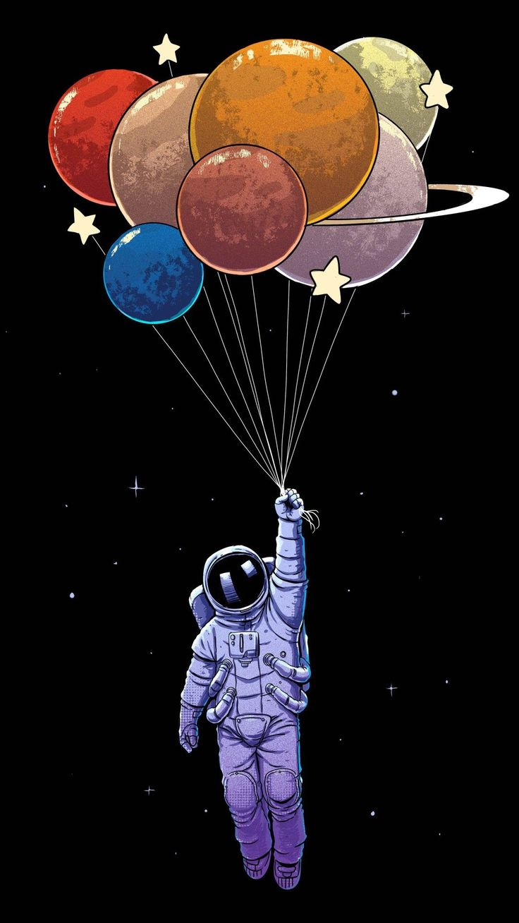 Illustration, Astronaut, Cartoon, Graphic design, Balloon
