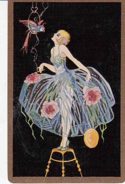 *Vintage Swap / Playing Cards -1 SINGLE-  STUNNING DECO LADY AND PARROT