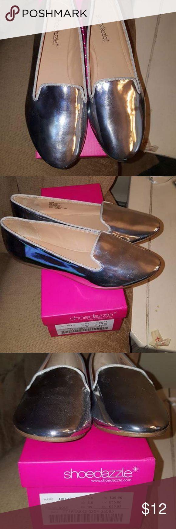 "Shoe Dazzle ""Maisha"" metallic silver flats 8.5 Never worn outside.   Shiny, silver patent leather! Shoe Dazzle Shoes Flats & Loafers"