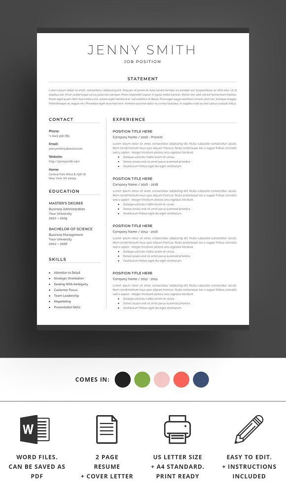 Resume Templates  Design  Resume Template Word Modern Clean CV