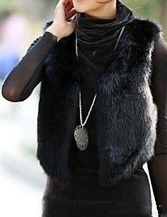 Women's Club Vintage Fur Coat V Neck Winter Black Faux Fur