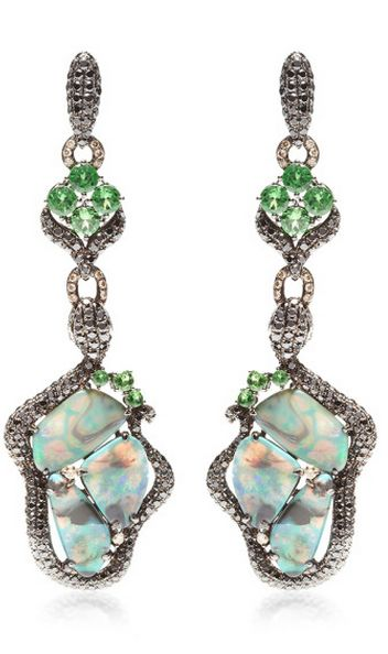 These one of a kind chandelier earrings by Wendy Yue feature an organic shape set with opal stones surrounded by colored diamonds with green garnet detailing set in 18k white gold.