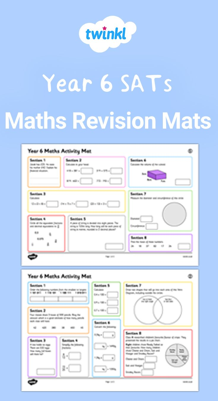 Year 6 Sats Maths Revision Mats Math Activities Math Sats