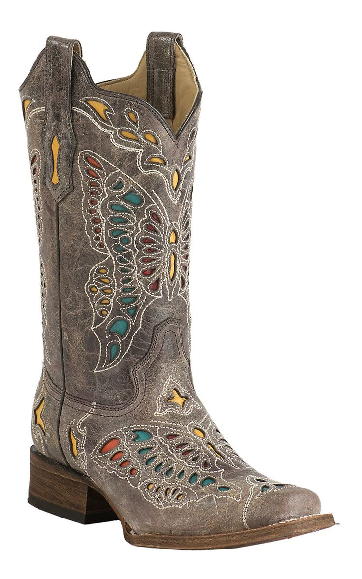 Corral Women's Vintage Taupe with Colorful Butterfly Inlay ...