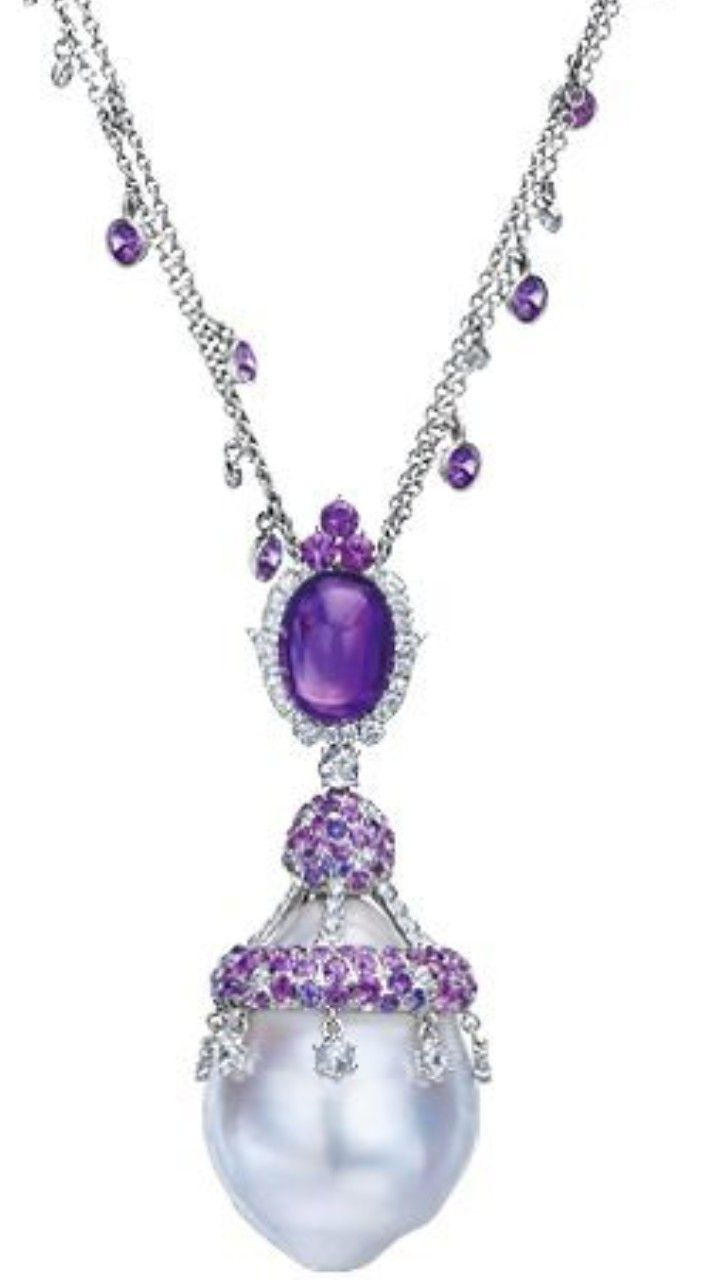 Baroque Pearl, Purple Sapphire and Amethyst Necklace. Double-strand Gold chain with bezel-set purple Sapphires and Diamonds, dropping to a cabochon Amethyst, and large baroque Pearl encrusted with purple Sapphire pavé and white Diamond briolettes; in 18-karat white Gold.