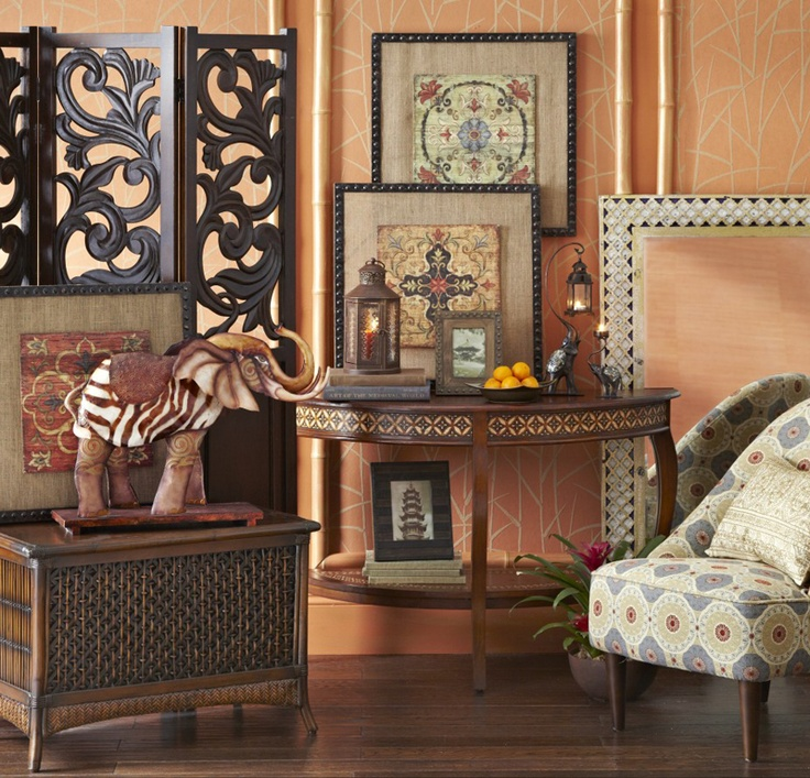 Look for art that complements the different patterns and for Different home decor