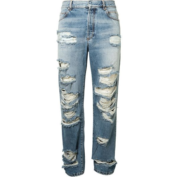 Balmain Destroyed Jeans ($560) ❤ liked on Polyvore featuring men's fashion, men's clothing, men's jeans, mens straight jeans, mens torn jeans, balmain men's jeans, mens destroyed jeans and mens ripped jeans