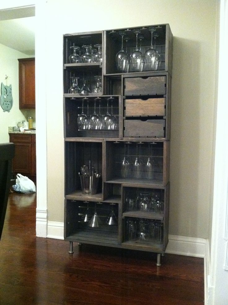 DIY Crate Wine Glass Rack