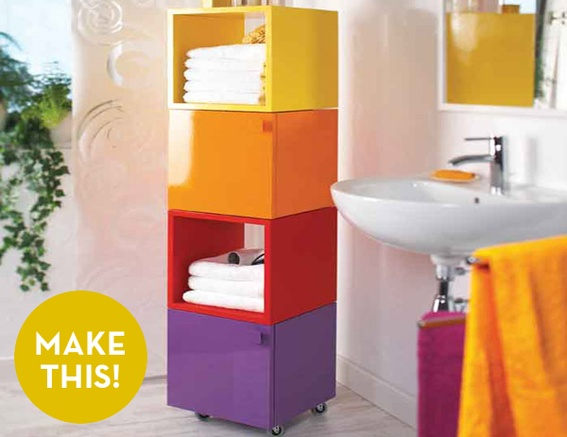 make your own colorful bathroom cube cabinets book storage