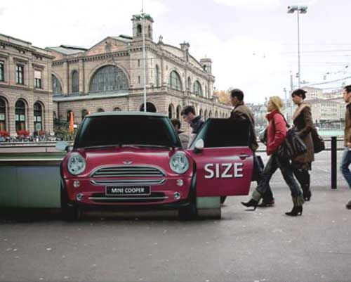 Ambient ad on a tube exit in Zurich - used really well to show how 'spacious' the MINI Cooper is!