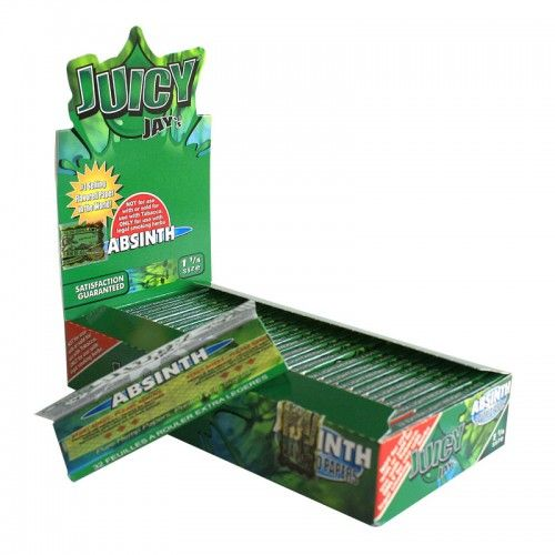Tα χαρτάκια Juicy Jays absinth μεσαίου μεγέθους είναι τα μοναδικά τσιγαρόχαρτα με αληθινή γεύση και άρωμα από αψέντι από το πρώτο μέχρι το τελευταίο φύλλο.Τα προϊόντα Juicy Jays κατασκευάζονται με το περίφημο σύστημα triple-dip για επιπλέον γεύση.