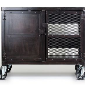 Small Industrial Media Wine Cabinet, Tv Stand, Liquor Cart by Justin Real