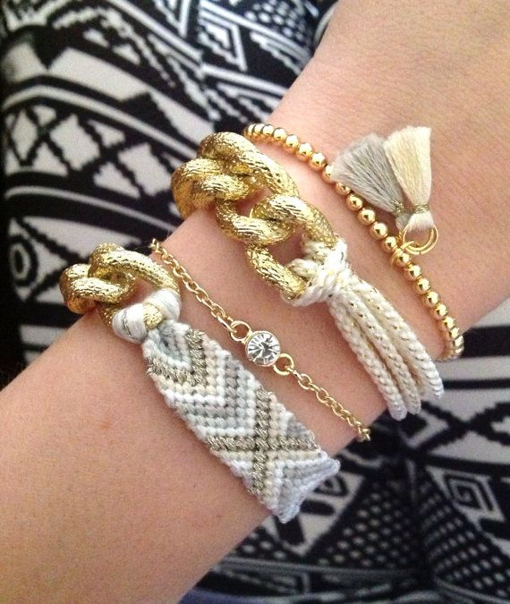 Sweet Ivory gold chain Friendship Bracelet by luckysageshop