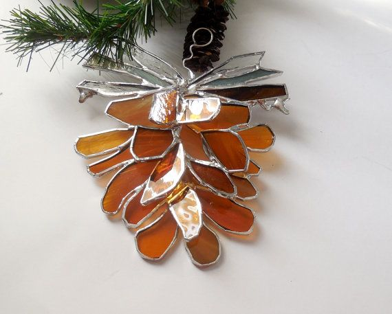 Made To Order. Amber Pinecone. Stained Glass Suncatcher. Pinecone.