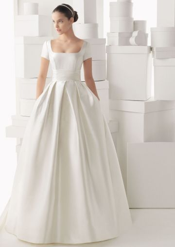 Discount Delicate Ball Gown Square with Short Sleeves Satin Wedding Dress Online