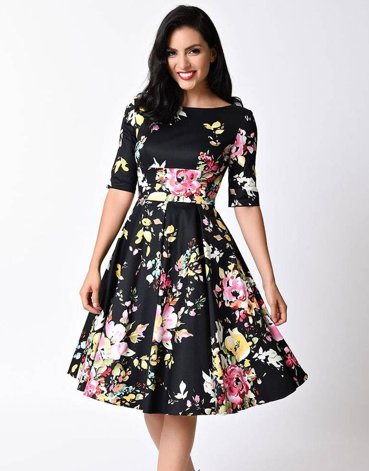 Sukienka vintage pin up czarna rozkloszowana midi