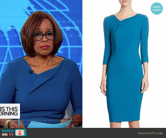Gayle's blue asymmetric neck dress on CBS This Morning.  Outfit Details: https://wornontv.net/84786/ #CBSThisMorning