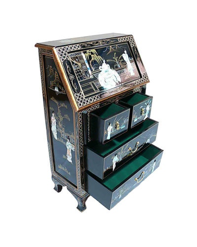 Black Lacquered With Mother Of Pearl Bureau Oriental Furniture Chinese Fengshui | eBay
