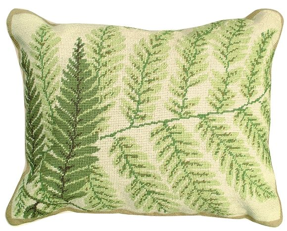 "NCU82 FERN The Fern Pillow is a beautiful handmade needlepoint pillow. The face of this pillow is 100% wool and is made up of roughly 100 stitches per square inch. Lovely shades of green make up the Fern designs. A soft brown, graces the ferns to make a stem. All the lovely fern leaves lie upon a beige field. Very realistic. Excellent size, 16""x20"", make this pillow look great in all chairs, and on all sofas.. Also works well in all rooms… Cotton velvet zippered back. Helen Verin design."