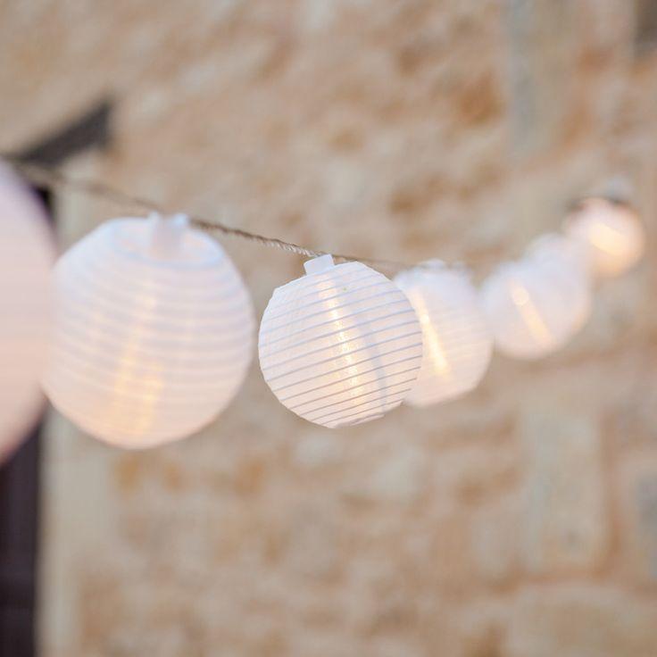20er LED Lampion Lichterkette warmweiß