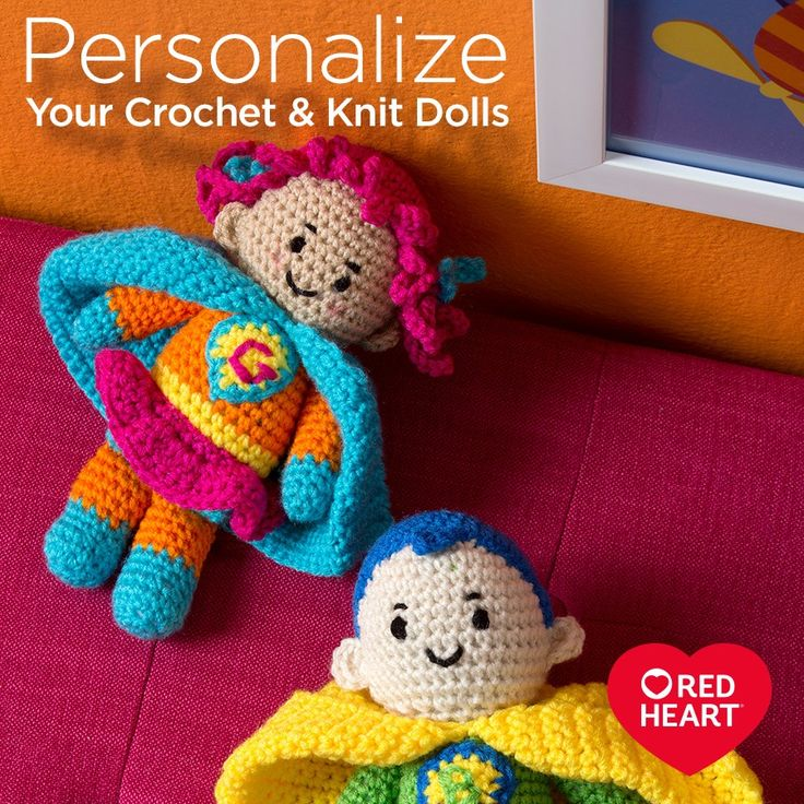 Personalize Your Crochet & Knit Dolls -- We often get asked which colors are the best to use when crocheting or knitting a doll. Since Red Heart Super Saver is available in over 120 different colors the choices are endless, but there are some choices that make more realistic-looking dolls. Here are some colors we've selected and broken down into categories to help get you started.