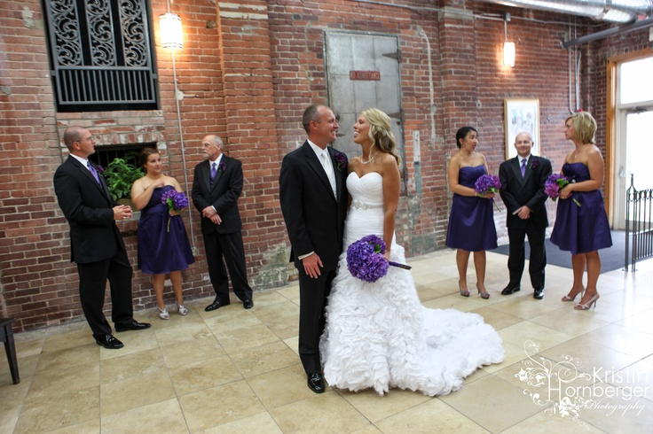 Julie + Mike:  Love the purple dresses and hydrenga centerpieces at the Mill Top.  Noblesville, IN.  #Purple #Indy #Wedding