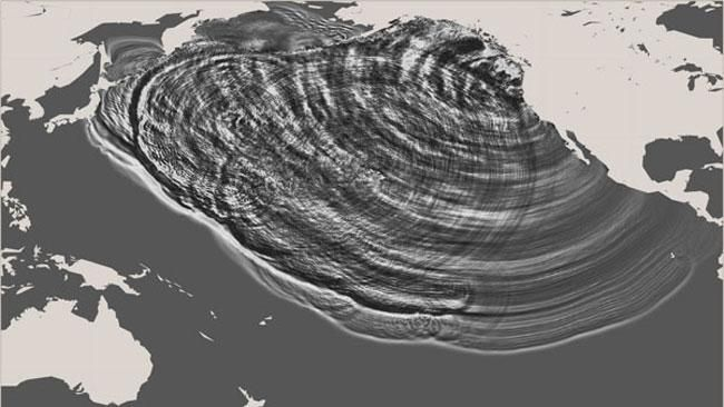 Computer simulation of a tsunami generated by a large earthquake on the Cascadia subduction zone in 1700.  It could happen again...