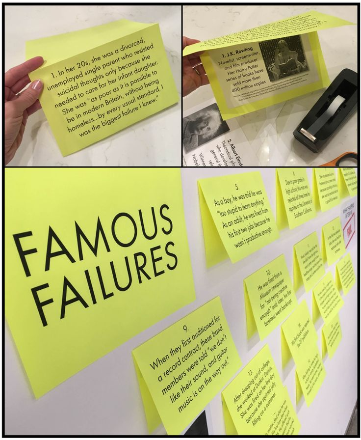 Famous failures, growth mindset bulletin