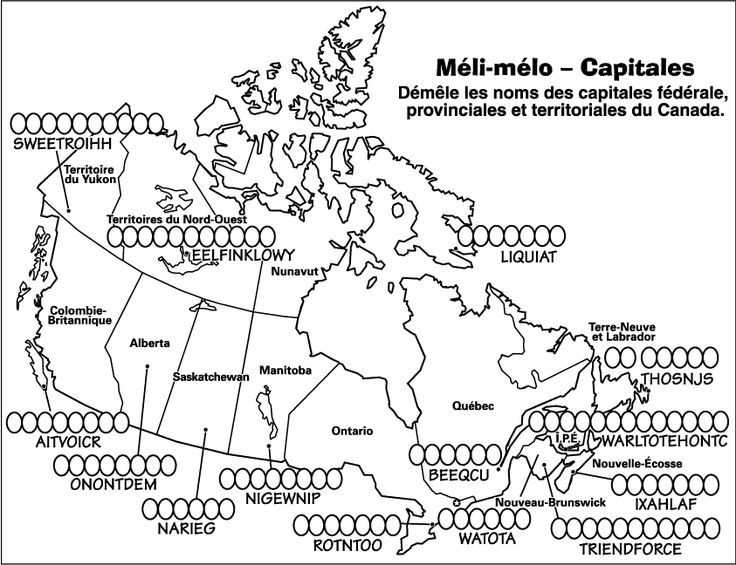 Map of Canada in French, unscramble the capitals