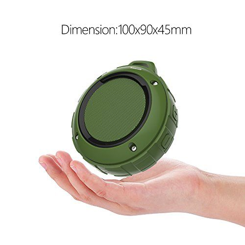 Outdoor Waterproof Bluetooth Speaker,Kunodi Wireless Portable Mini Shower Travel Speaker with Subwoofer, Enhanced Bass, Built in Mic for Sports, Pool, Beach, Hiking, Camping (Green) - Specification: Power: 4R 3W Voltage: DC 5V Battery: 600 MAH Weight: about 250g Play Time: 4-5 hours Charging time: 2-3 hours Signal range: about 10 meters Size: 71mm * 45mm(diameter * high) Frequency Response: 120Hz-20 KHz Feature: IPX45 waterproof ,Shockproof, Dustproof Compability: suit for sma...