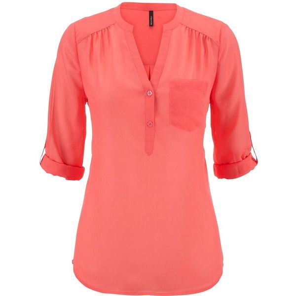 maurices The Perfect Blouse With One Pocket ($29) ❤ liked on Polyvore featuring tops, blouses, shirts, calypso coral, red blouse, chiffon shirt, henley shirts, chiffon blouses and roll tab sleeve blouse